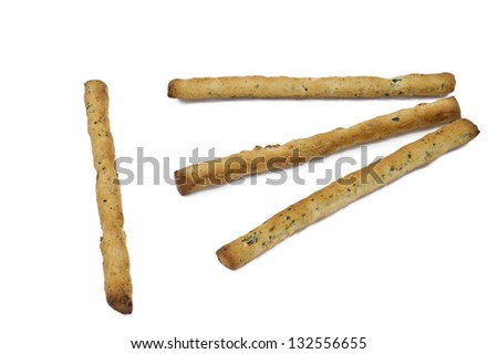 some grissini in white background - stock photo