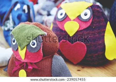 Some handmade toys of the Christmas market - stock photo