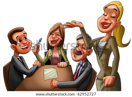 some happy caucasian executives in a business reunion - stock photo