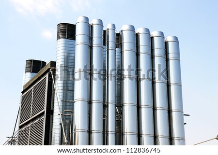 Some industrial metal pipes of a ventilation system.