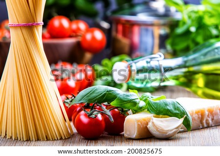 Some ingredients of Italian cuisine.Italian cuisine.  - stock photo