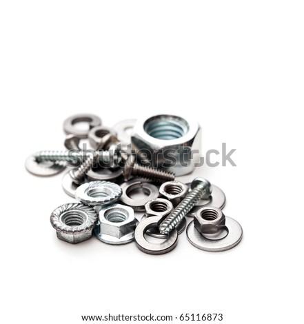 Some iron hardware isolated on white - stock photo