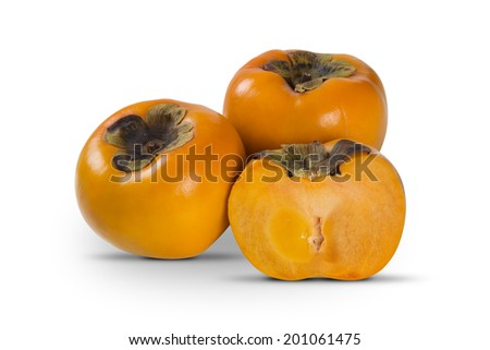 Some khaki fruits and a half on a white background