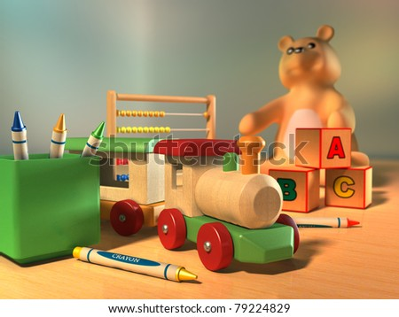 Some kid's toys on a wooden surface. Digital illustration. - stock photo