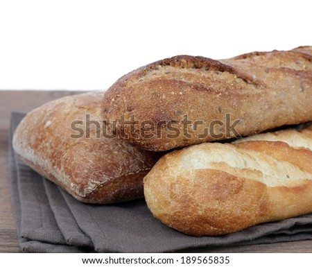 some kind of rustic bread at market place - stock photo