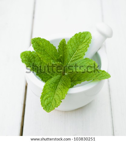 Some leaves of Mint in a mortar with pestle on a wooden table for herbs concepts - stock photo