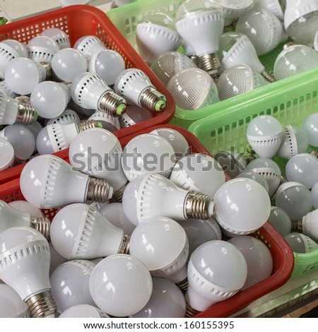 some LED lamp selling sscience and technology background  - stock photo