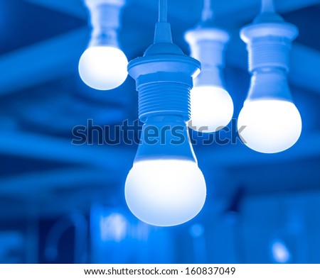 some led lamps  selling blur background  - stock photo