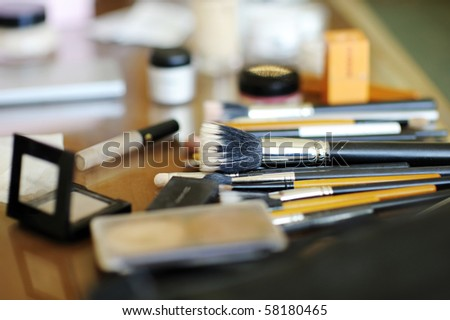 Some makeup brushes and other accessories - stock photo