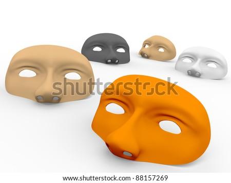 Some masks on the ground. 3d Illustration - stock photo