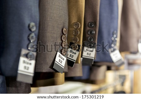 Some Men Fashion Suites at Men Fashion Store - stock photo