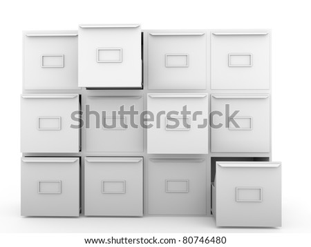 Some metallic drawers. office furniture for archiving and cataloging information - stock photo