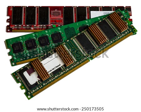 Some modules DDR RAM memory computer on white background. Were not removed the ratings of some chips - stock photo
