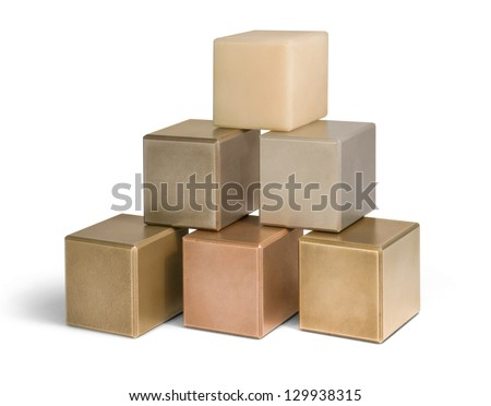 some mostly metallic cubes in light back - stock photo