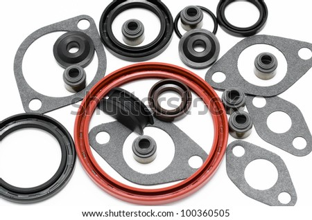 some new gaskets for car motor engines - stock photo