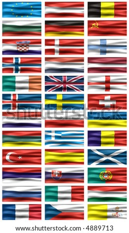 Some of European flags - symbols of Countries. - stock photo