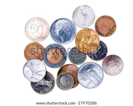 Some of former coins before European euro isolated on a white background. - stock photo