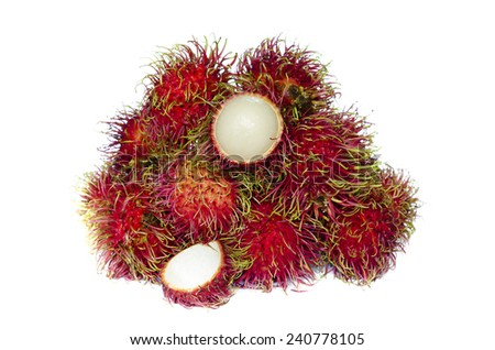 some of rambutan on white background