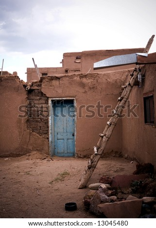 Some of the ancient adobe at Taos Pueblo, New Mexico. - stock photo
