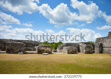 Some of the ancient structures on the top of Caana pyramid at the Caracol archaeological site of Mayan civilization in Western Belize