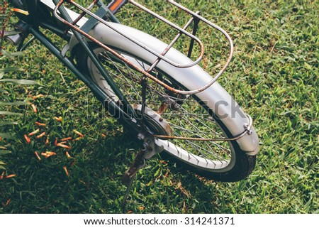 Some of the bicycles are parked in the garden.Parts of the bike.Bicycle wheel Part, Close up Details
