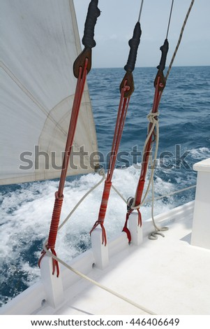 Some of the rigging on a sailboat - stock photo