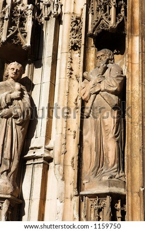 Some of the statues of Cathedrale Sainte Sauveur in Aix-en-Provence, France - stock photo