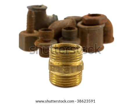 Some old parts of pipes isolated on a white background - stock photo
