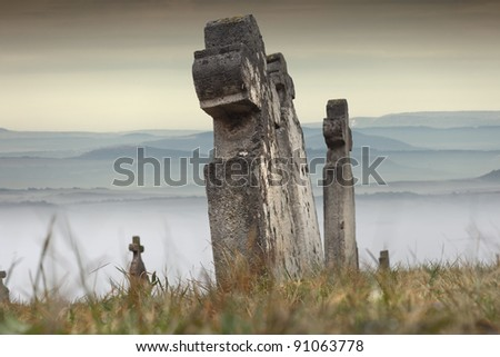Some old tombstones in an old cemetery, on the hill, Hungary - stock photo