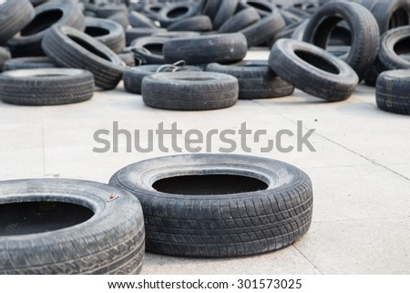 some old used car tires. - stock photo