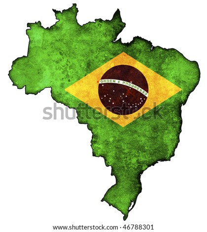 some old vintage map with flag of brazil - stock photo