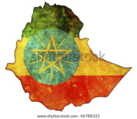 some old vintage map with flag of ethiopia - stock photo