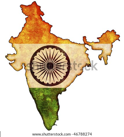 some old vintage map with flag of india - stock photo