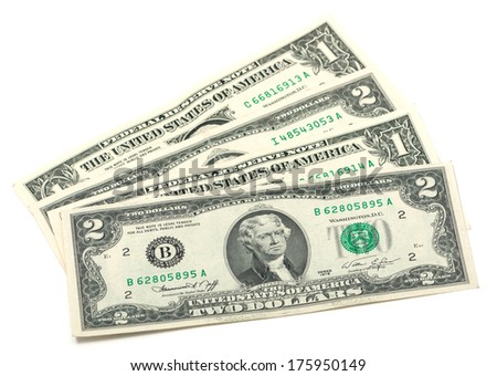 some one and two dollars on a white background - stock photo