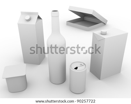 Some packaging models made of plastic, glass and cardboard. Concept of ecology and recycling - stock photo
