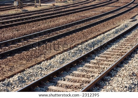 Some pairs of railway tracks in a bend