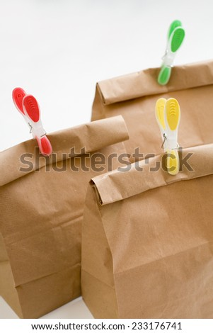 Some Paper bags composition closeup - stock photo