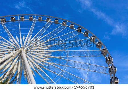 some part of Ferris Wheel at evening time