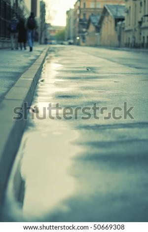 some people take a walk on street - stock photo