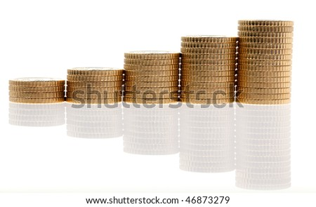 Some piles of euro coins on white background - stock photo