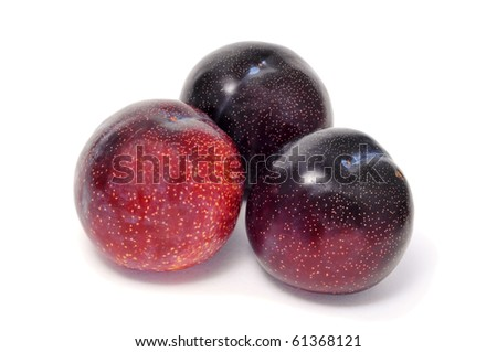 some plums isolated on a white background