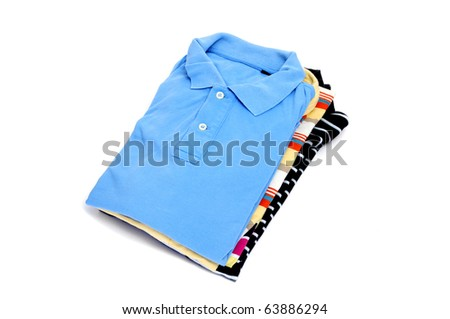 some polo shirts isolated on a white background