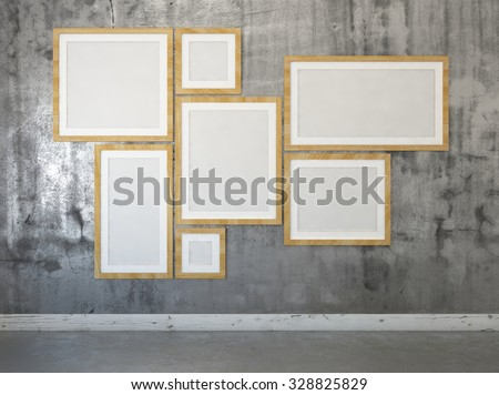 Some posters in frames on the wall. Mock up. 3d render - stock photo