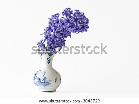 Some pretty purple Hyacinths in a vase - stock photo