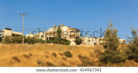 Some private palestinian buildings in Judea near Jerusalem - stock photo