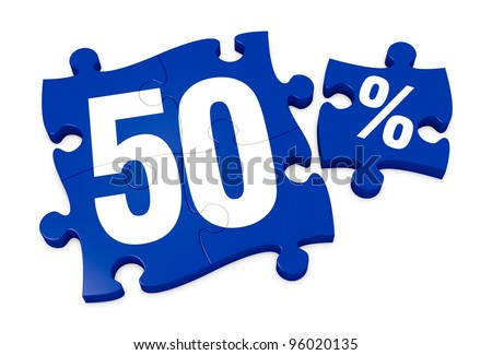 some puzzle pieces with the number 50 and the percent symbol (3d render) - stock photo
