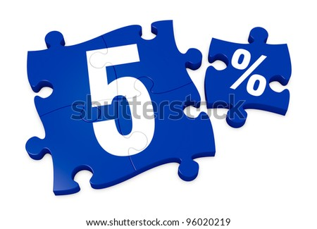 some puzzle pieces with the number 5 and the percent symbol (3d render) - stock photo