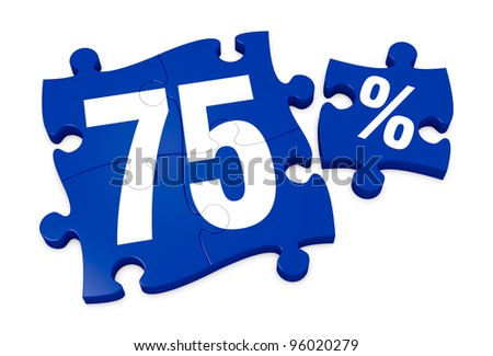 some puzzle pieces with the number 75 and the percent symbol (3d render) - stock photo