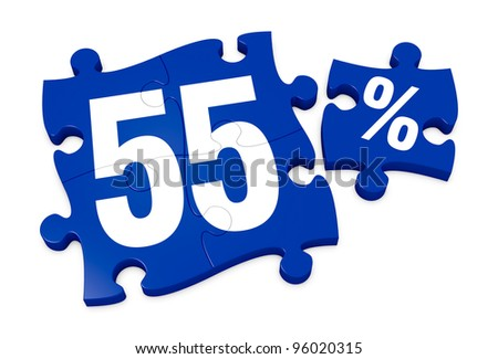 some puzzle pieces with the number 55 and the percent symbol (3d render) - stock photo