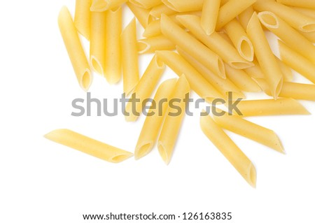 Some raw penne macaroni isolated on white background - stock photo